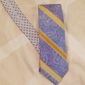 Robert graham mens silk tie- blue and yellow